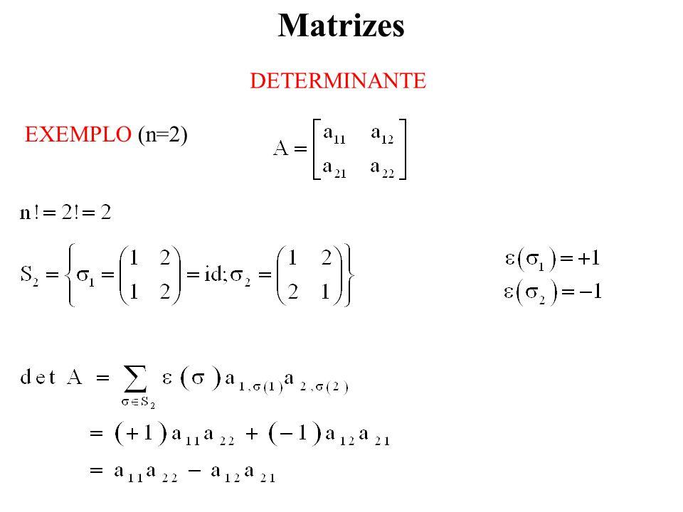 Matrizes DETERMINANTE EXEMPLO (n=2)