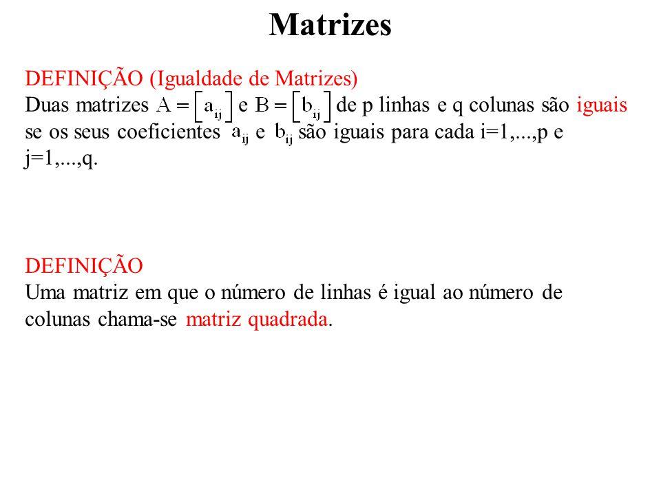 Matrizes DEFINIÇÃO (Igualdade de Matrizes)