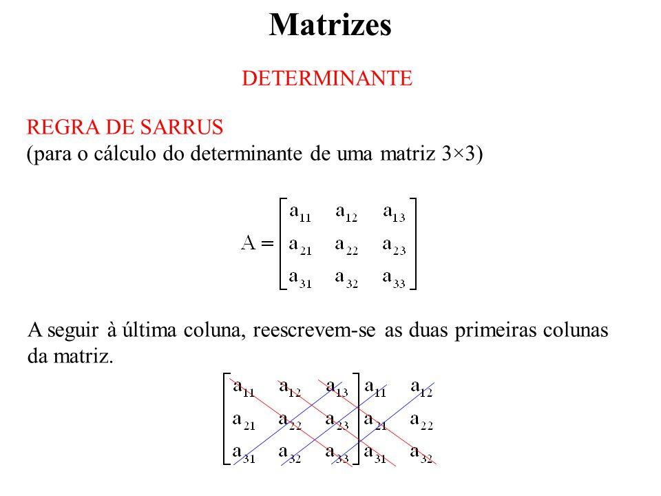 Matrizes DETERMINANTE REGRA DE SARRUS