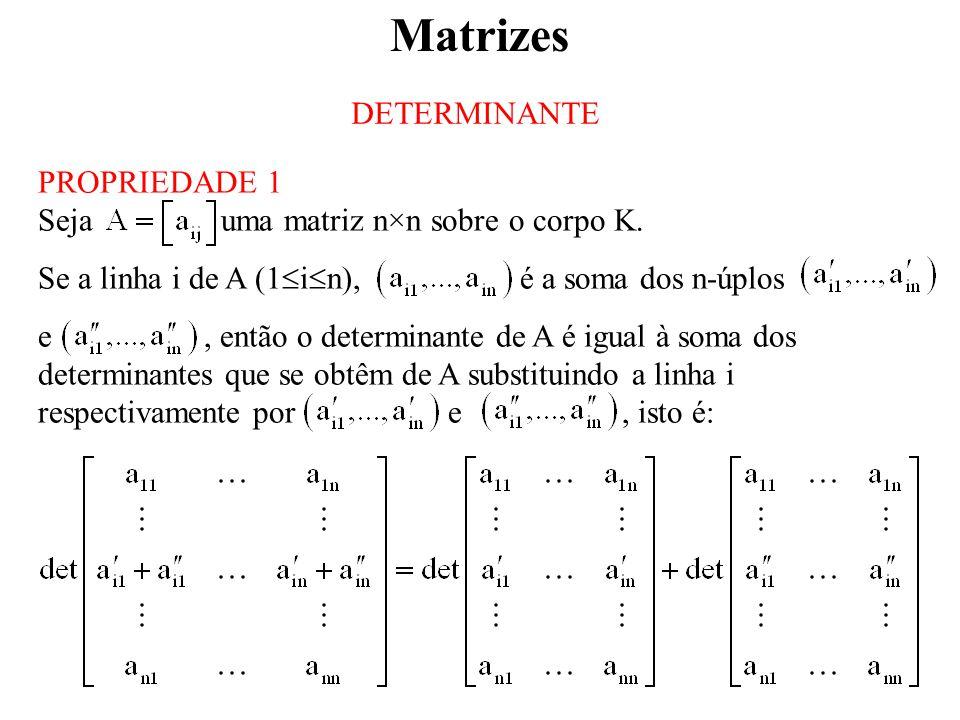 Matrizes DETERMINANTE PROPRIEDADE 1
