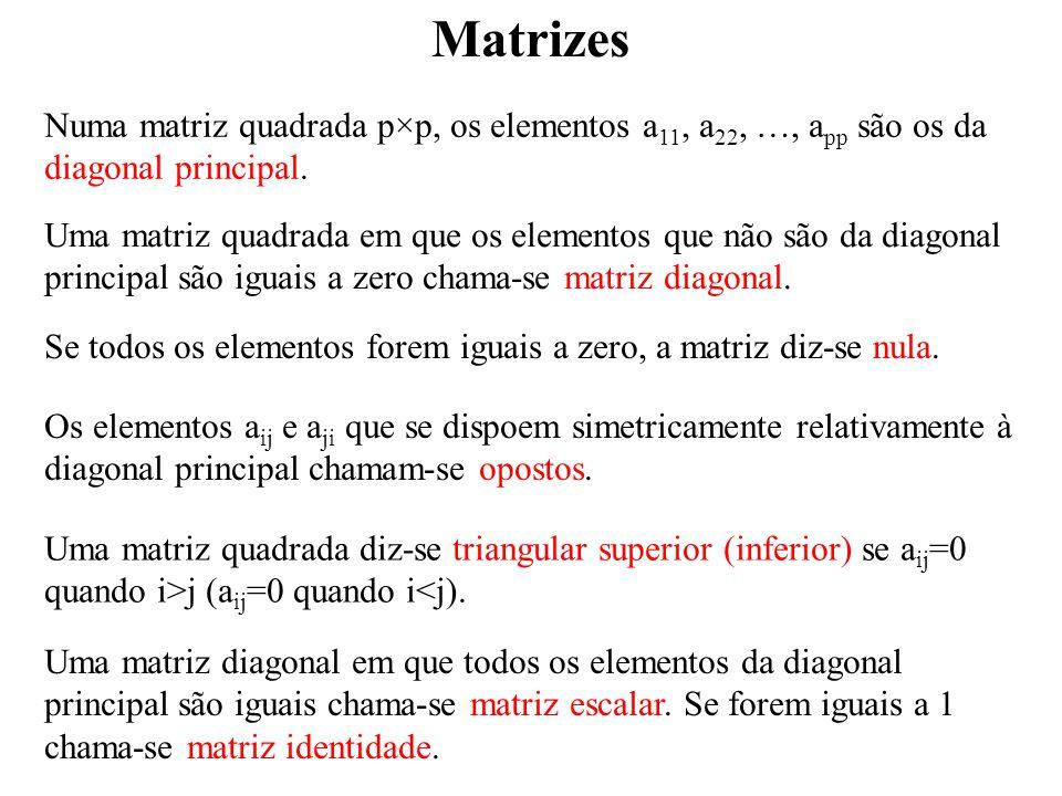Matrizes Numa matriz quadrada p×p, os elementos a11, a22, …, app são os da diagonal principal.