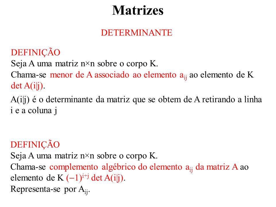 Matrizes DETERMINANTE DEFINIÇÃO Seja A uma matriz n×n sobre o corpo K.