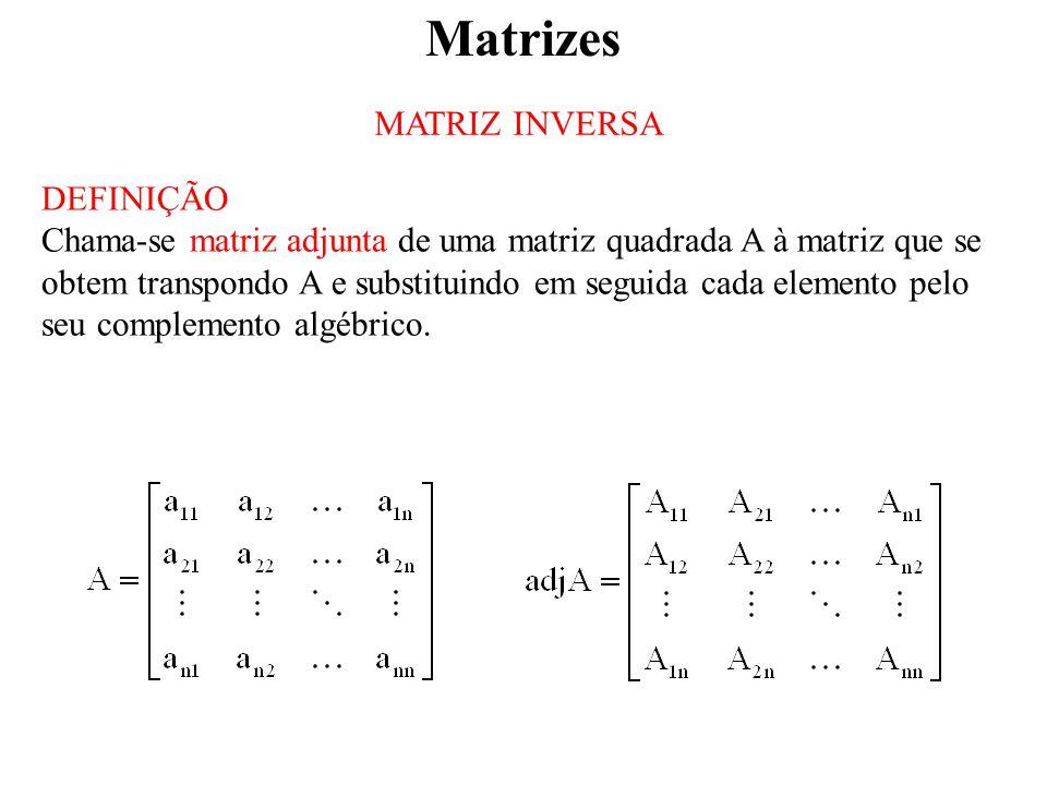 Matrizes MATRIZ INVERSA DEFINIÇÃO