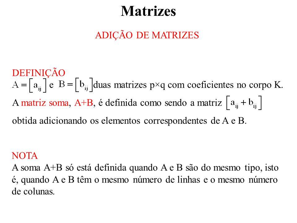 Matrizes ADIÇÃO DE MATRIZES DEFINIÇÃO