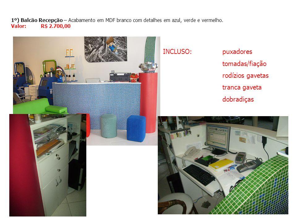 INCLUSO: puxadores tomadas/fiação rodízios gavetas tranca gaveta
