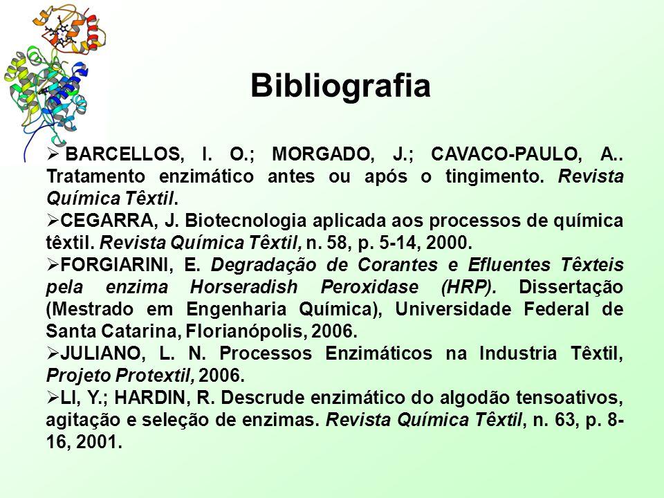 Bibliografia BARCELLOS, I. O.; MORGADO, J.; CAVACO-PAULO, A.. Tratamento enzimático antes ou após o tingimento. Revista Química Têxtil.