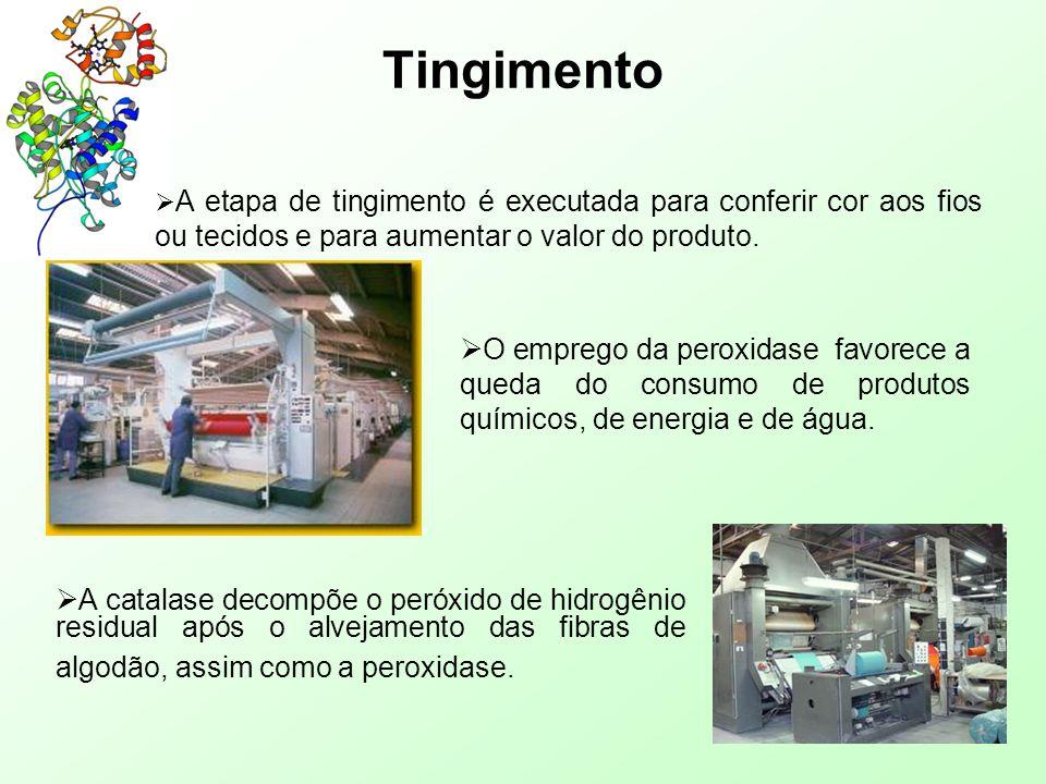 Tingimento A etapa de tingimento é executada para conferir cor aos fios ou tecidos e para aumentar o valor do produto.