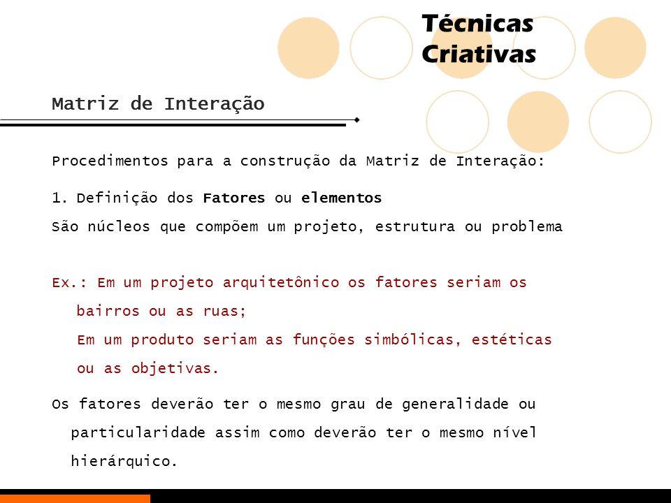 Matriz de Interação Procedimentos para a construção da Matriz de Interação: Definição dos Fatores ou elementos.