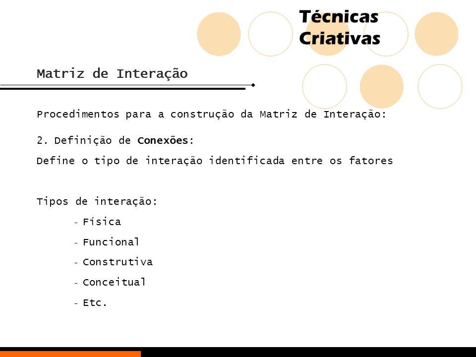 Matriz de Interação Procedimentos para a construção da Matriz de Interação: Definição de Conexões: