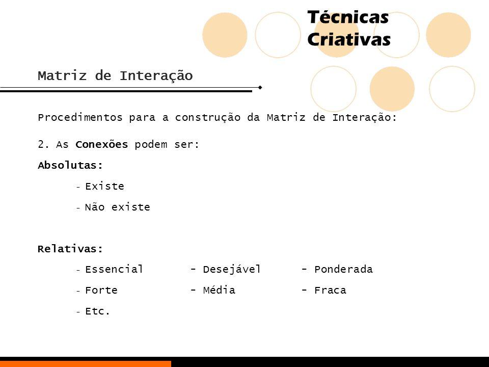 Matriz de Interação Procedimentos para a construção da Matriz de Interação: As Conexões podem ser: