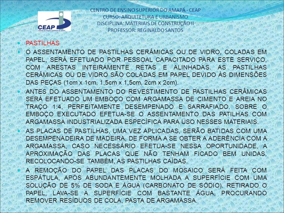 CENTRO DE ENSINO SUPERIOR DO AMAPÁ - CEAP CURSO: ARQUITETURA E URBANISMO DISCIPLINA: MATERIAIS DE CONSTRUÇÃO II PROFESSOR: REGINALDO SANTOS