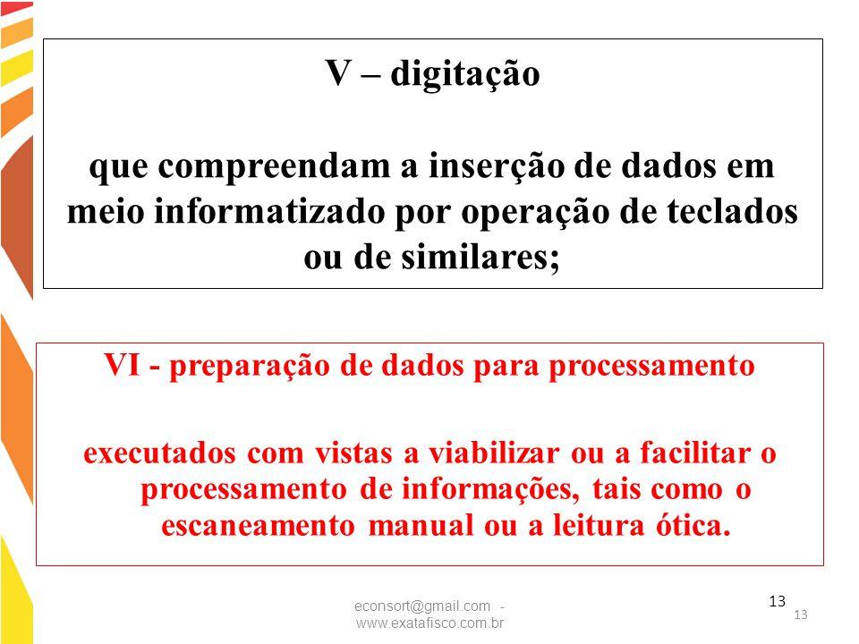 VI - preparação de dados para processamento