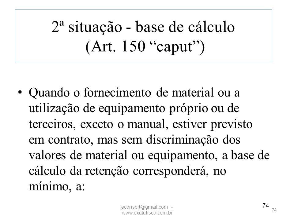 2ª situação - base de cálculo (Art. 150 caput )