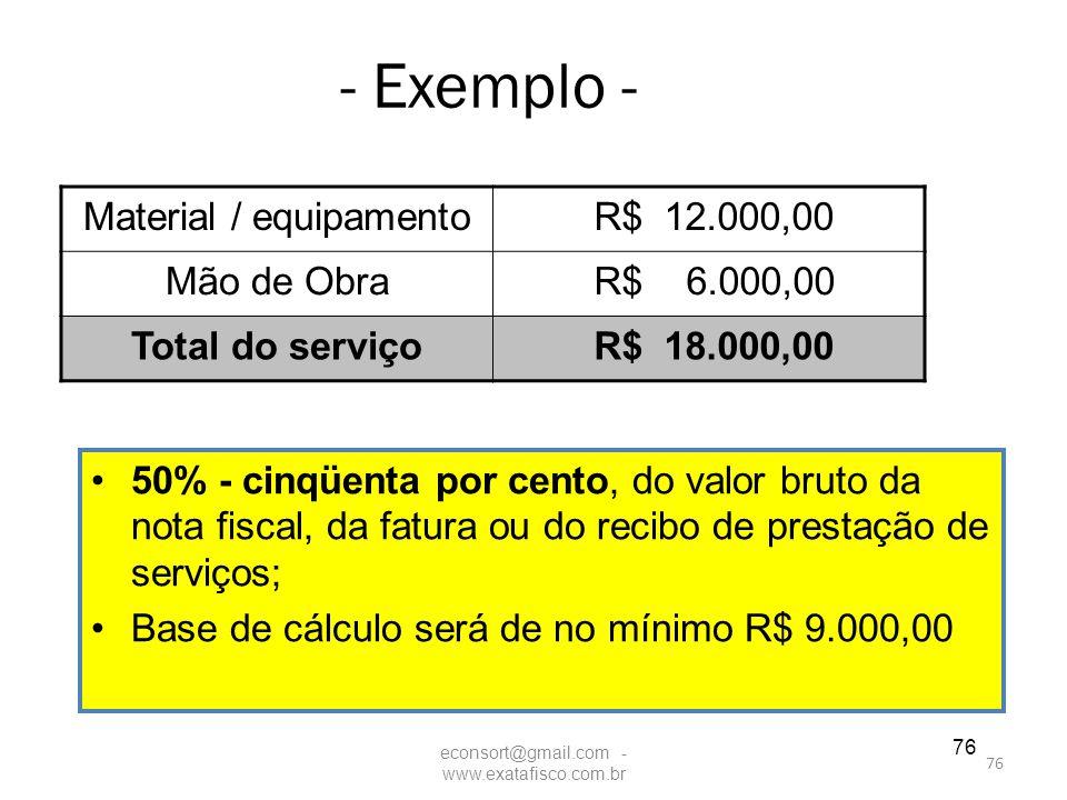 - Exemplo - Material / equipamento R$ 12.000,00 Mão de Obra