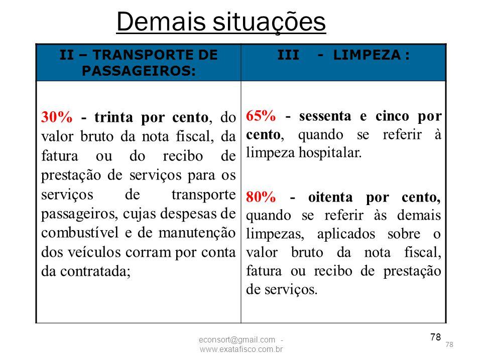 II – TRANSPORTE DE PASSAGEIROS: