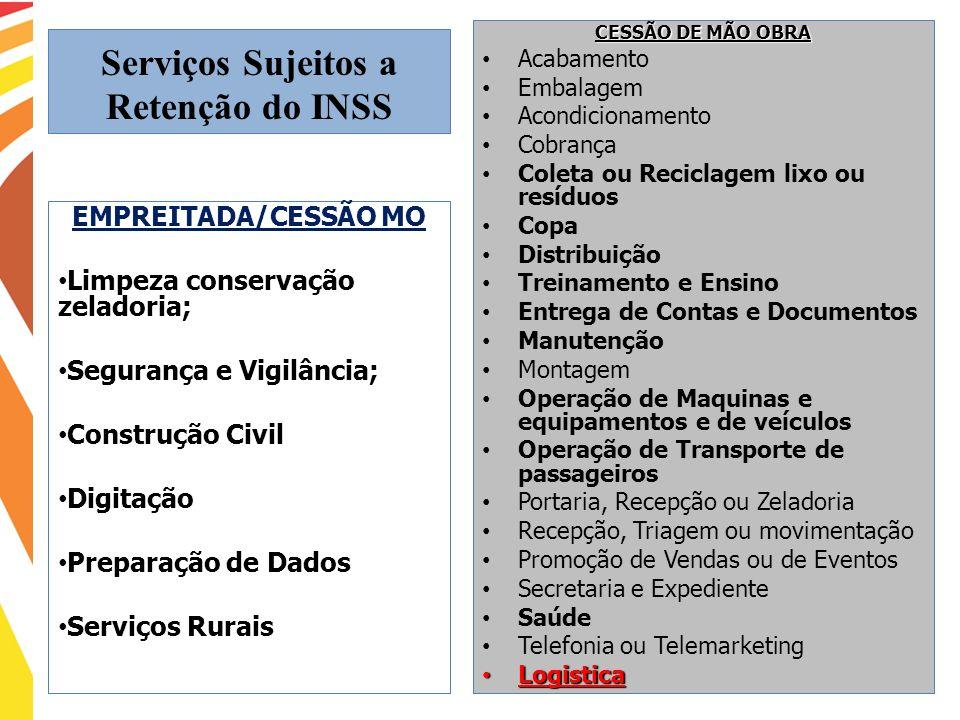 Serviços Sujeitos a Retenção do INSS