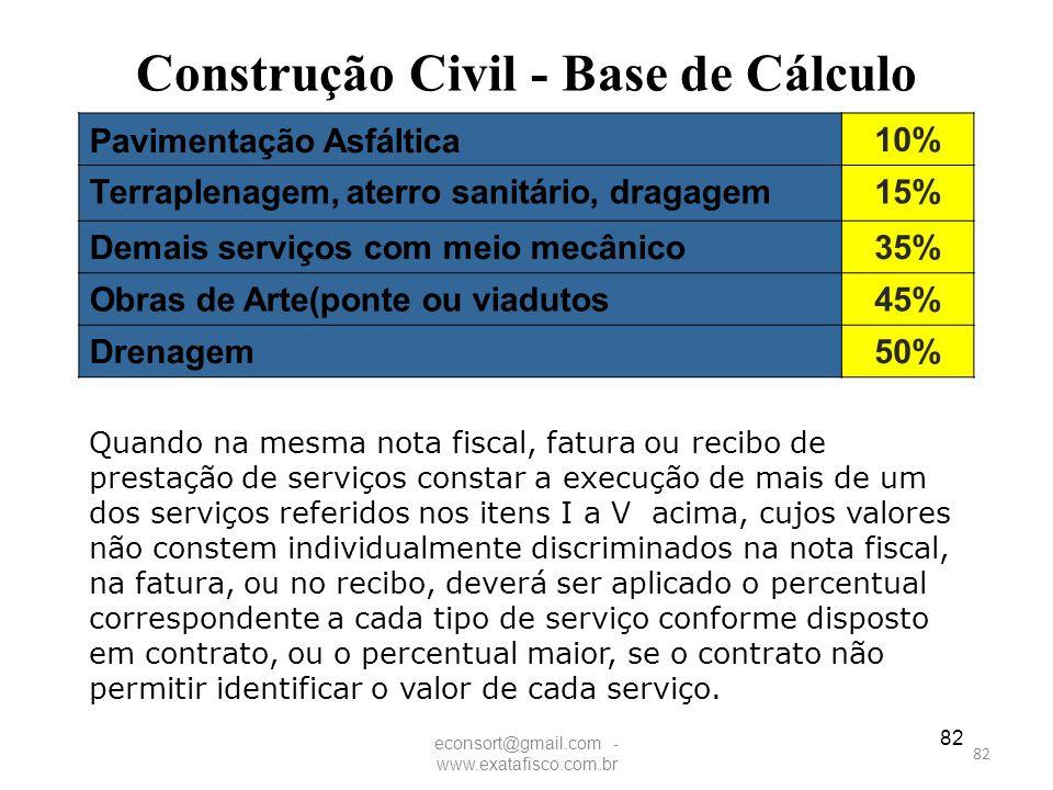 Construção Civil - Base de Cálculo