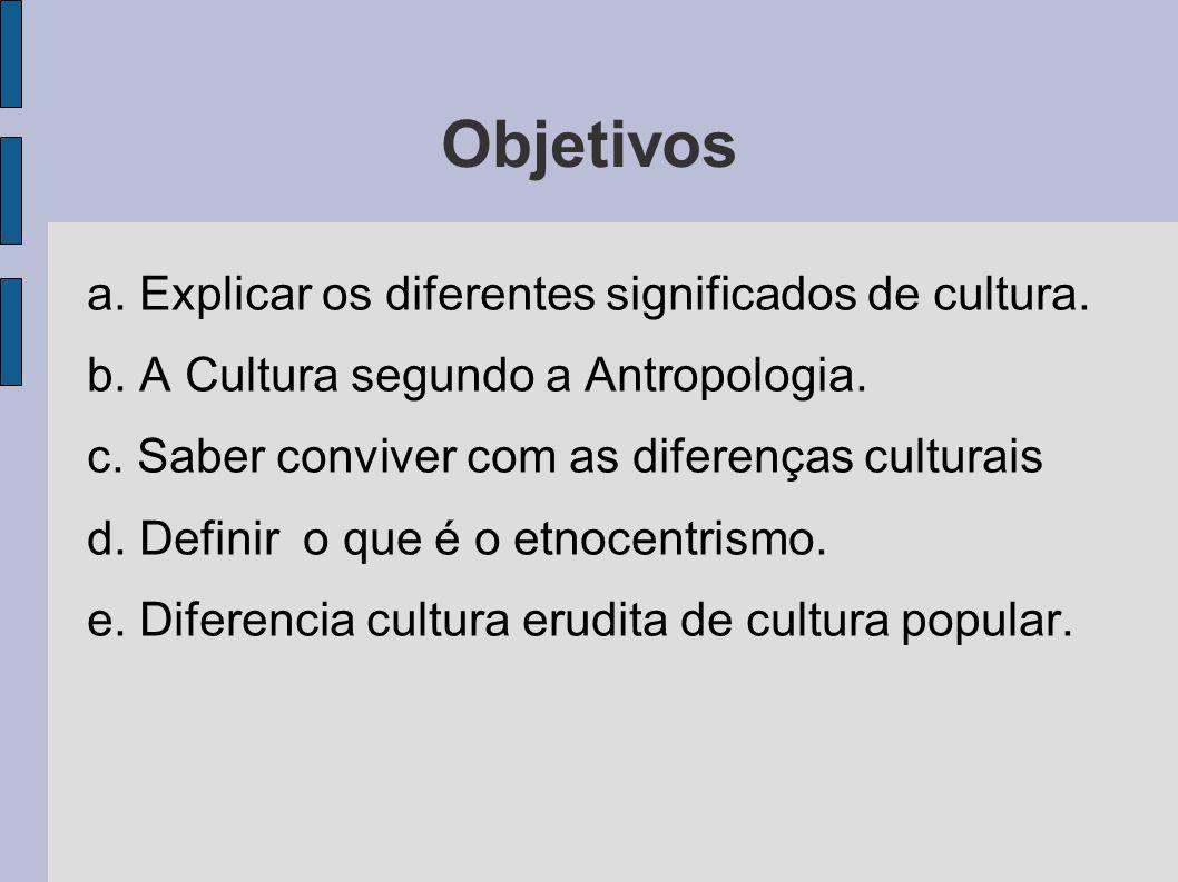 Objetivos a. Explicar os diferentes significados de cultura.
