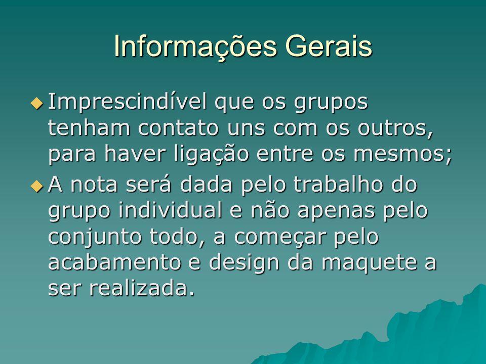 Informações Gerais Imprescindível que os grupos tenham contato uns com os outros, para haver ligação entre os mesmos;
