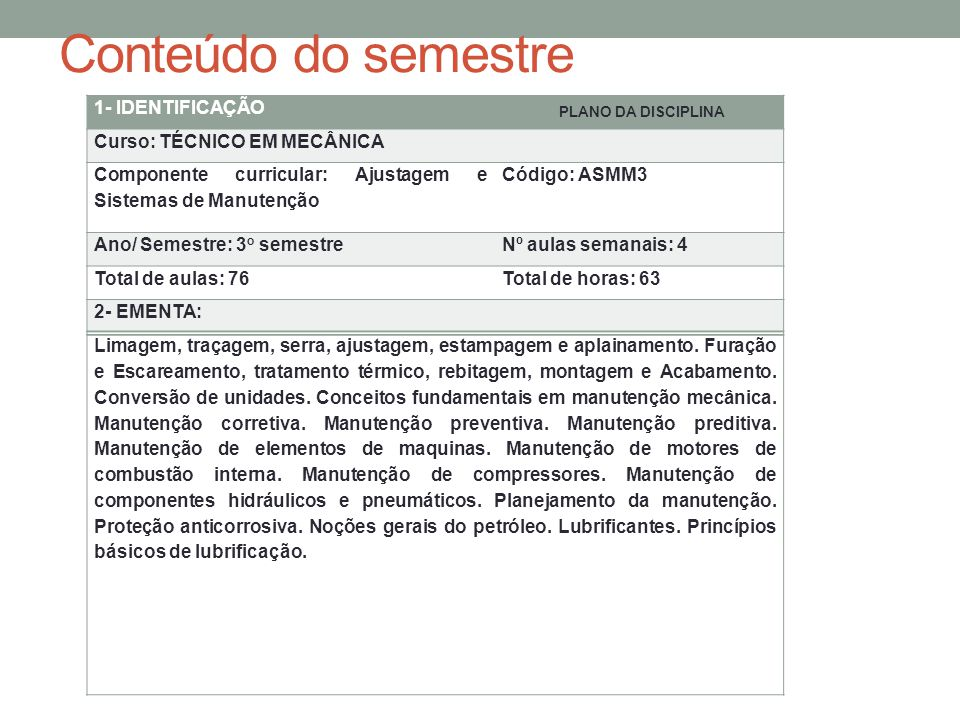 Conteúdo do semestre 1- IDENTIFICAÇÃO Curso: TÉCNICO EM MECÂNICA