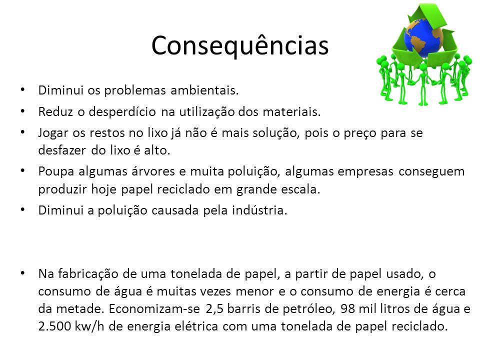 Consequências Diminui os problemas ambientais.
