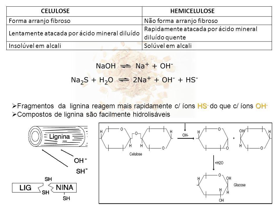 CELULOSE HEMICELULOSE. Forma arranjo fibroso. Não forma arranjo fibroso. Lentamente atacada por ácido mineral diluído.