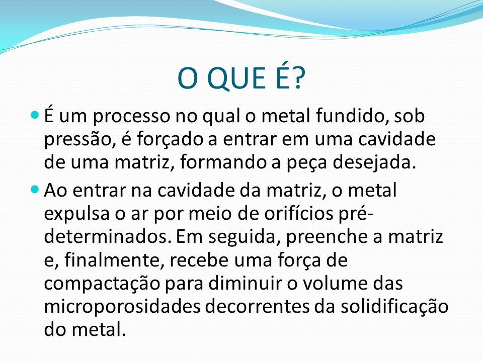 O QUE É É um processo no qual o metal fundido, sob pressão, é forçado a entrar em uma cavidade de uma matriz, formando a peça desejada.