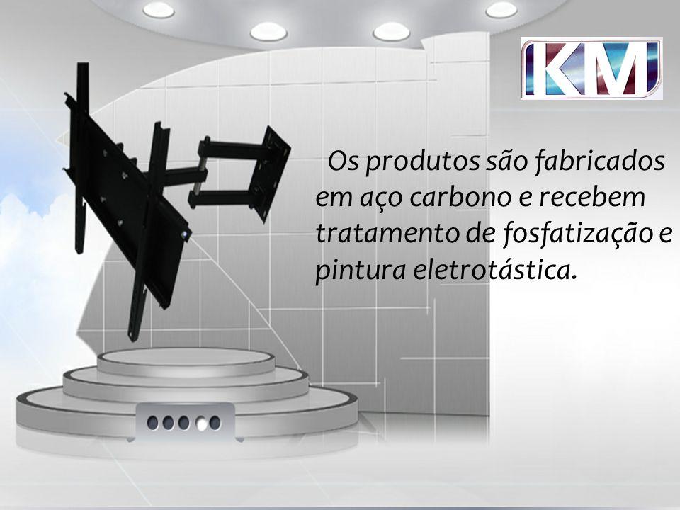 Os produtos são fabricados em aço carbono e recebem tratamento de fosfatização e pintura eletrotástica.