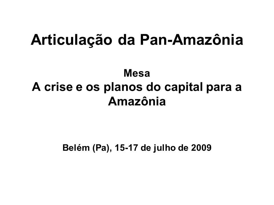 Articulação da Pan-Amazônia Mesa A crise e os planos do capital para a Amazônia