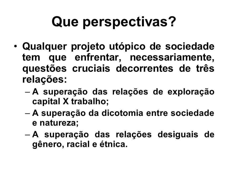 Que perspectivas Qualquer projeto utópico de sociedade tem que enfrentar, necessariamente, questões cruciais decorrentes de três relações: