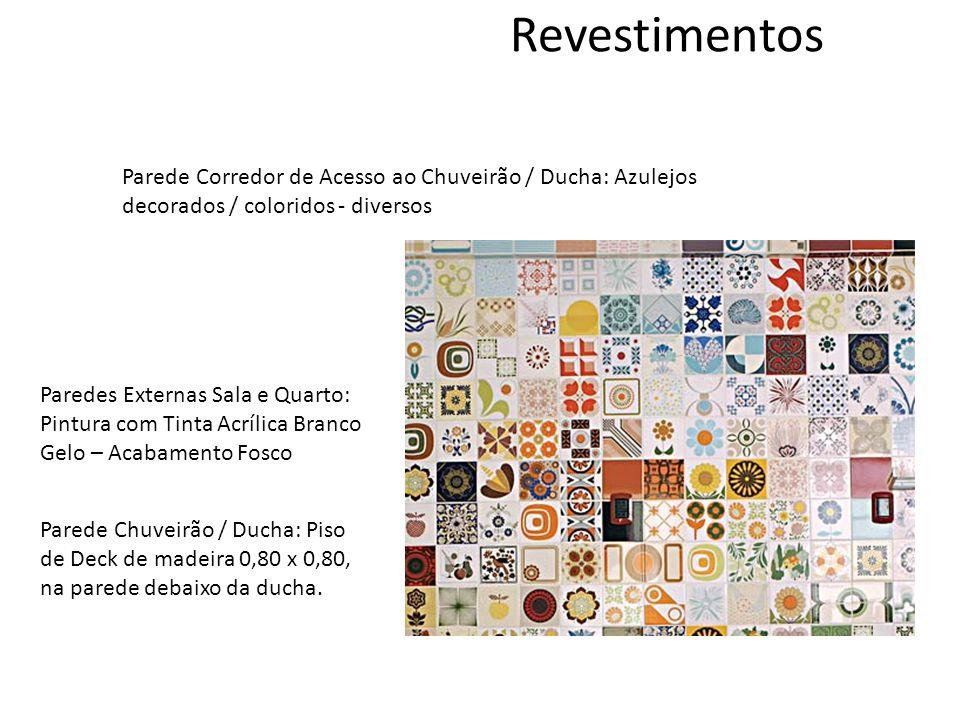 Revestimentos Parede Corredor de Acesso ao Chuveirão / Ducha: Azulejos decorados / coloridos - diversos.