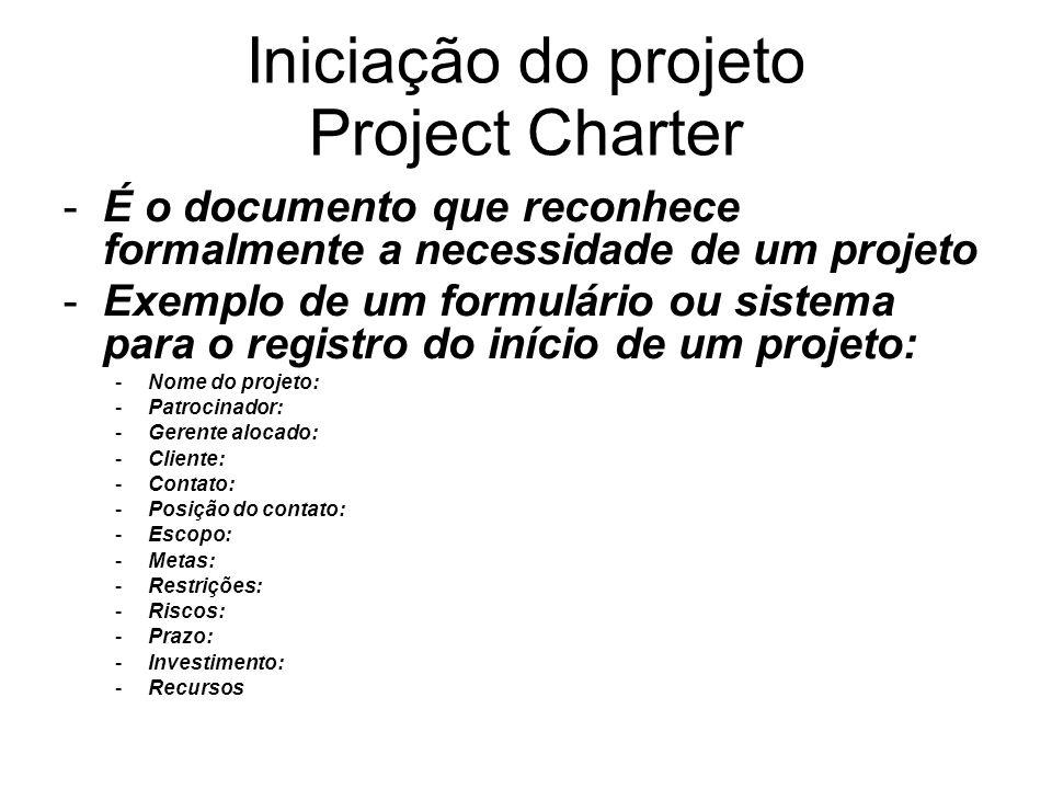 Iniciação do projeto Project Charter