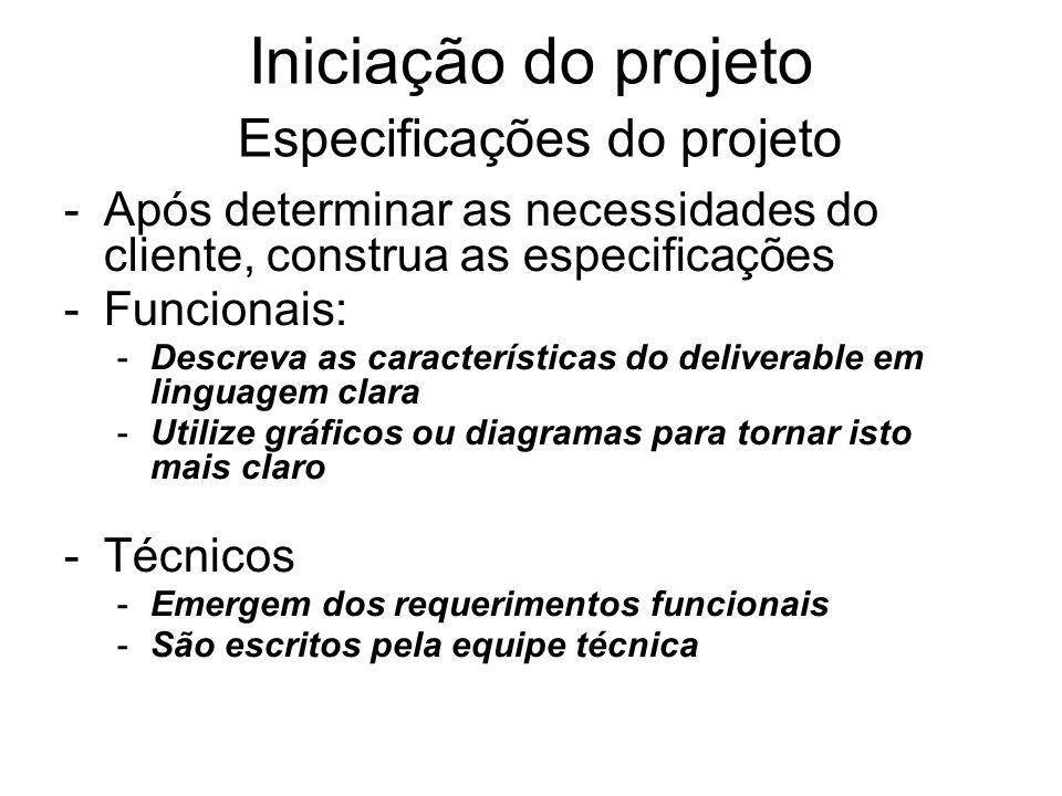Iniciação do projeto Especificações do projeto
