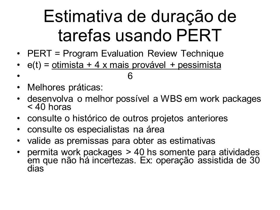 Estimativa de duração de tarefas usando PERT