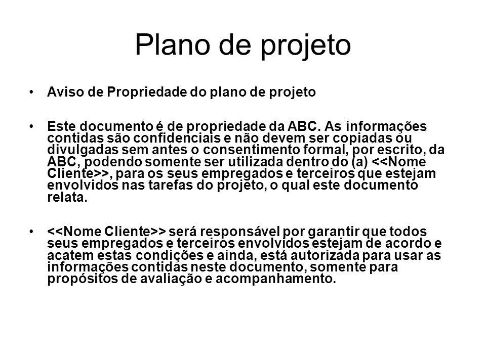 Plano de projeto Aviso de Propriedade do plano de projeto
