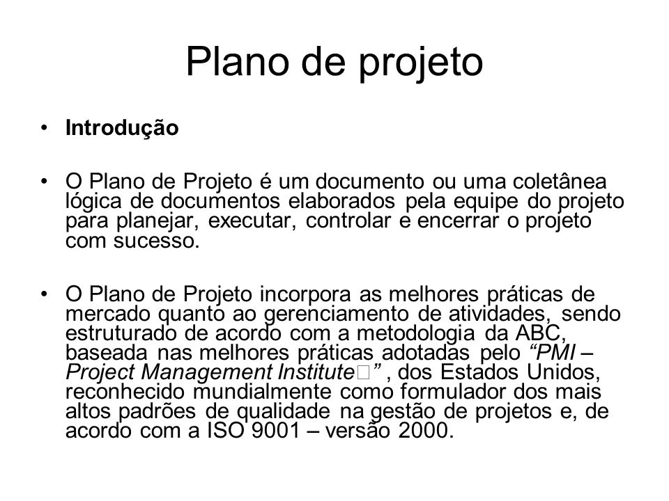 Plano de projeto Introdução