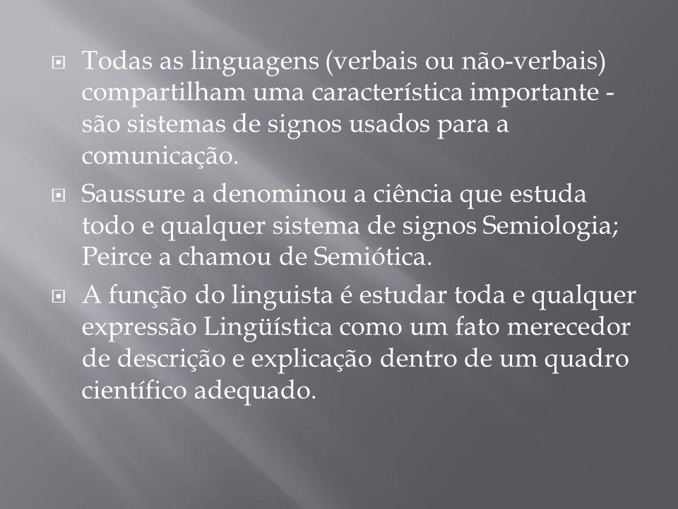 Todas as linguagens (verbais ou não-verbais) compartilham uma característica importante - são sistemas de signos usados para a comunicação.