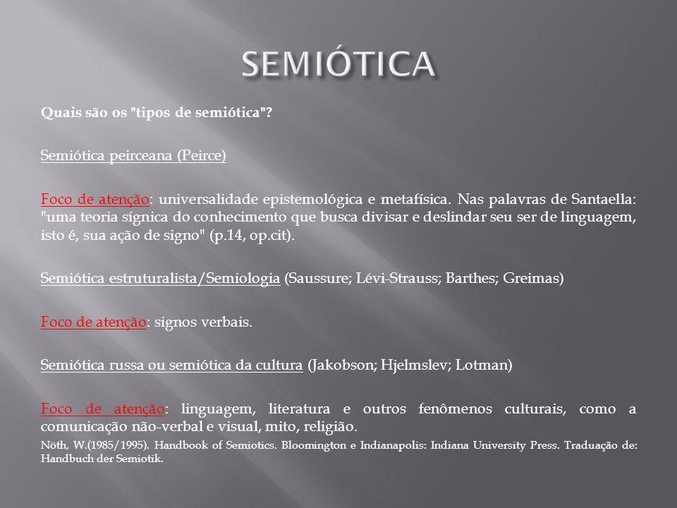 SEMIÓTICA Quais são os tipos de semiótica