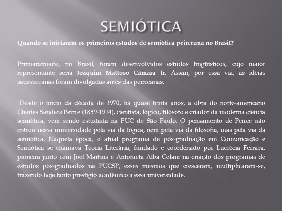 SEMIÓTICA Quando se iniciaram os primeiros estudos de semiótica peirceana no Brasil