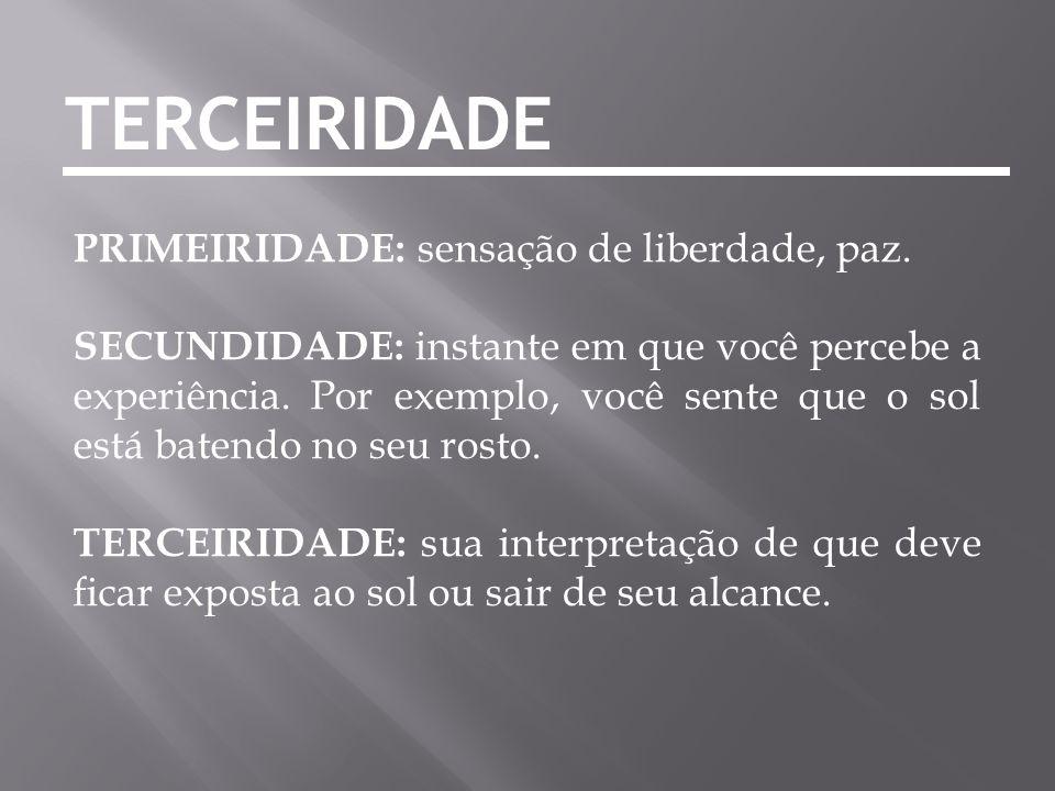 TERCEIRIDADE PRIMEIRIDADE: sensação de liberdade, paz.
