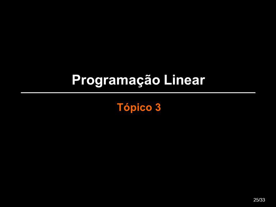 Programação Linear Tópico 3 25/33