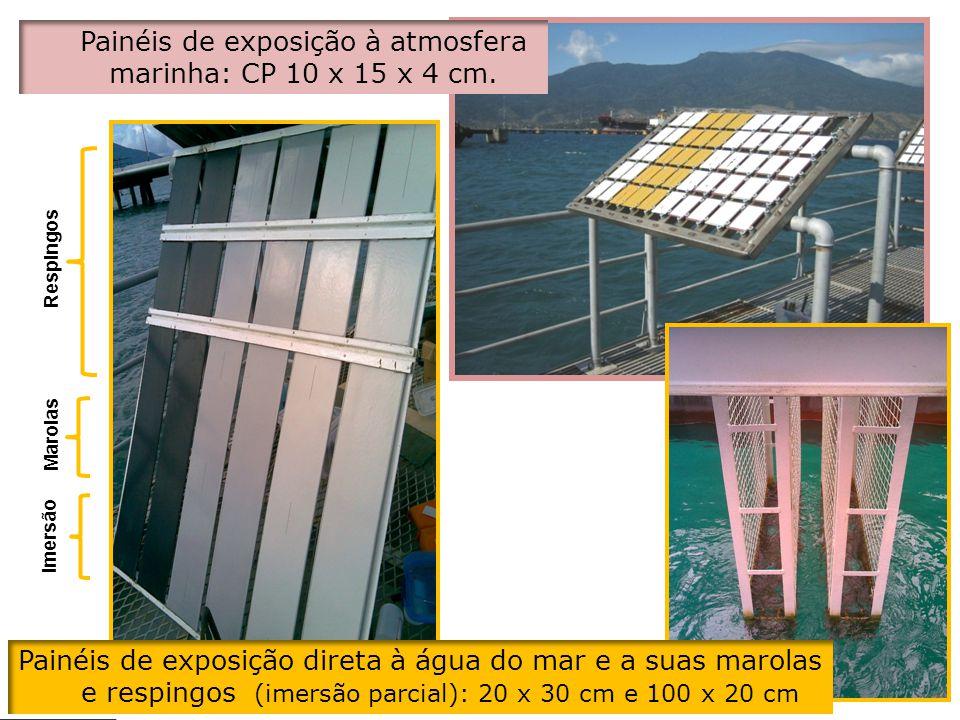 Painéis de exposição à atmosfera marinha: CP 10 x 15 x 4 cm.