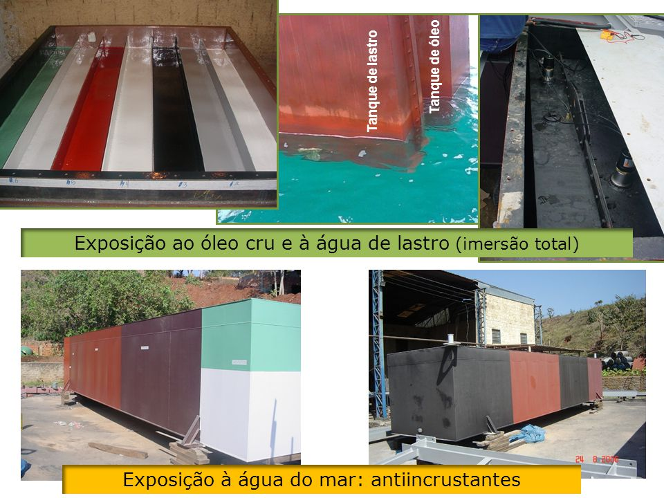 Exposição ao óleo cru e à água de lastro (imersão total)
