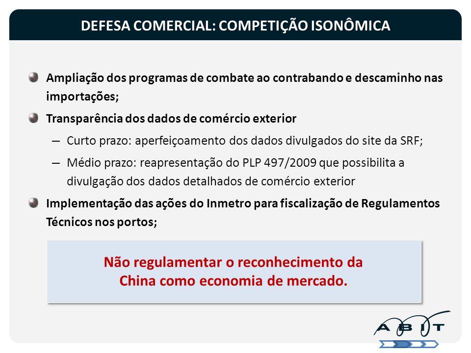 DEFESA COMERCIAL: COMPETIÇÃO ISONÔMICA
