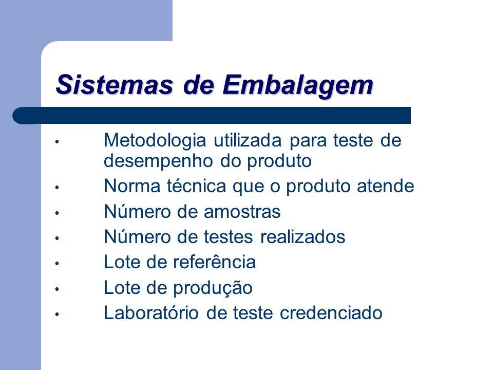 Sistemas de Embalagem Metodologia utilizada para teste de desempenho do produto. Norma técnica que o produto atende.