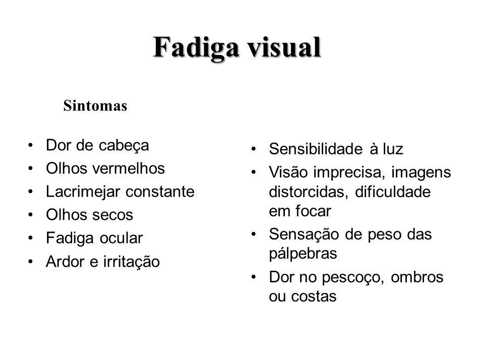 Fadiga visual Sintomas Dor de cabeça Sensibilidade à luz