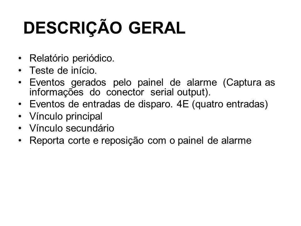 DESCRIÇÃO GERAL DESCRIÇÃO GERAL Relatório periódico. Teste de início.