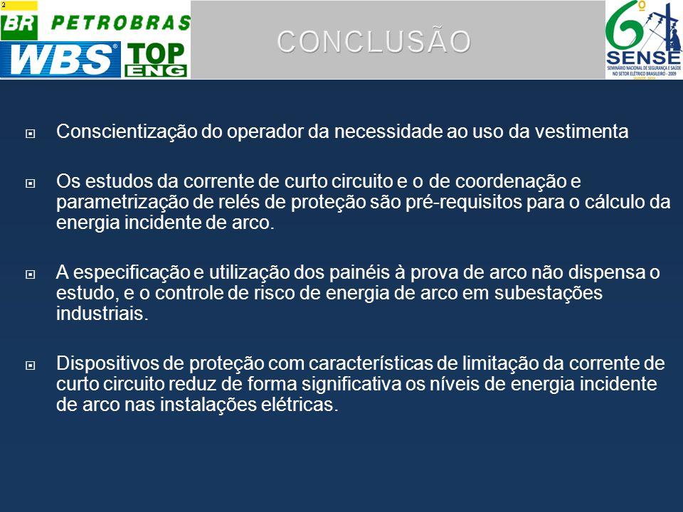 CONCLUSÃO Conscientização do operador da necessidade ao uso da vestimenta.