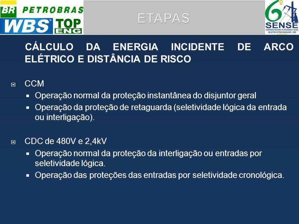 ETAPAS CÁLCULO DA ENERGIA INCIDENTE DE ARCO ELÉTRICO E DISTÂNCIA DE RISCO. CCM. Operação normal da proteção instantânea do disjuntor geral.