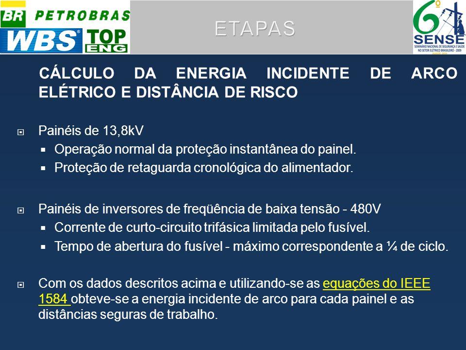 ETAPAS CÁLCULO DA ENERGIA INCIDENTE DE ARCO ELÉTRICO E DISTÂNCIA DE RISCO. Painéis de 13,8kV. Operação normal da proteção instantânea do painel.
